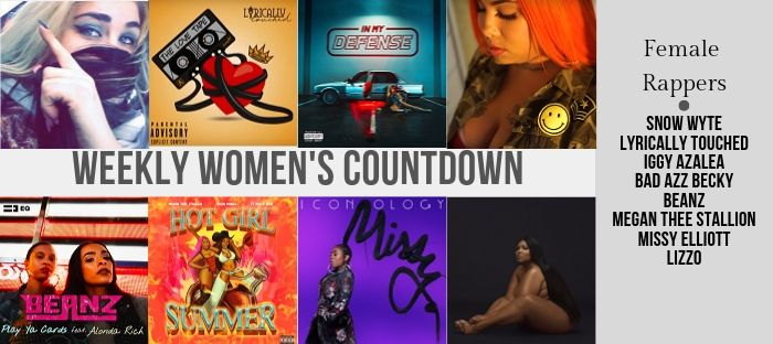 Weekly Women's Countdown appears in the middle of the screen with pictures Snow Wyte, Lyrically Touched, Iggy Azalea, Bad Azz Becky, Beanz, Megan Thee Stallion, Nicki Minaj, Missy Elliott, and Lizzo at Female Rapper News.